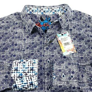 $198 ROBERT GRAHAM MENS L DARK NAVY SHIRT NWT